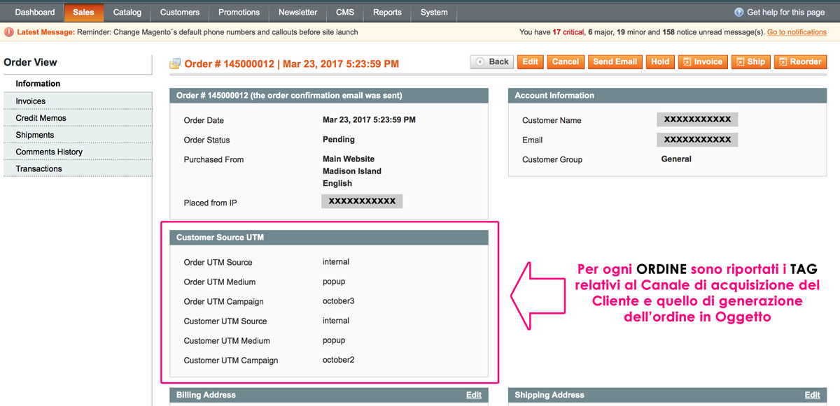TAG Tracking Ordine Magento Campagna PPC